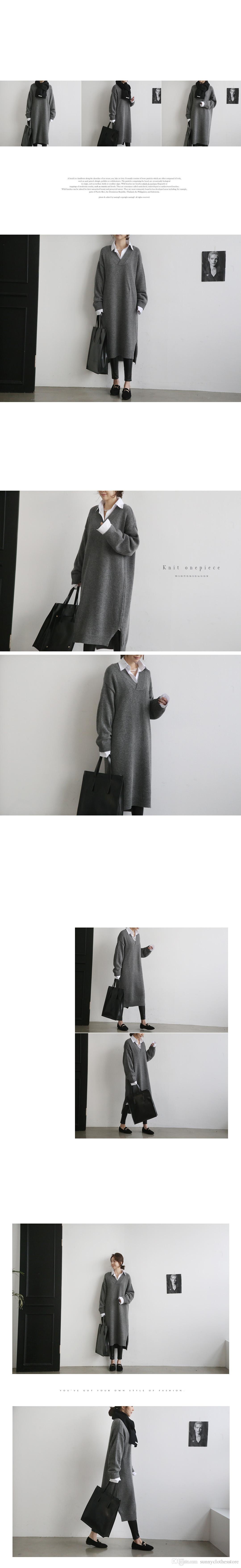 Sonbahar ve kış yeni Kore versiyonu Joker kazak etek V Yaka kalınlaşmış uzun kollu gevşek kazak kadın