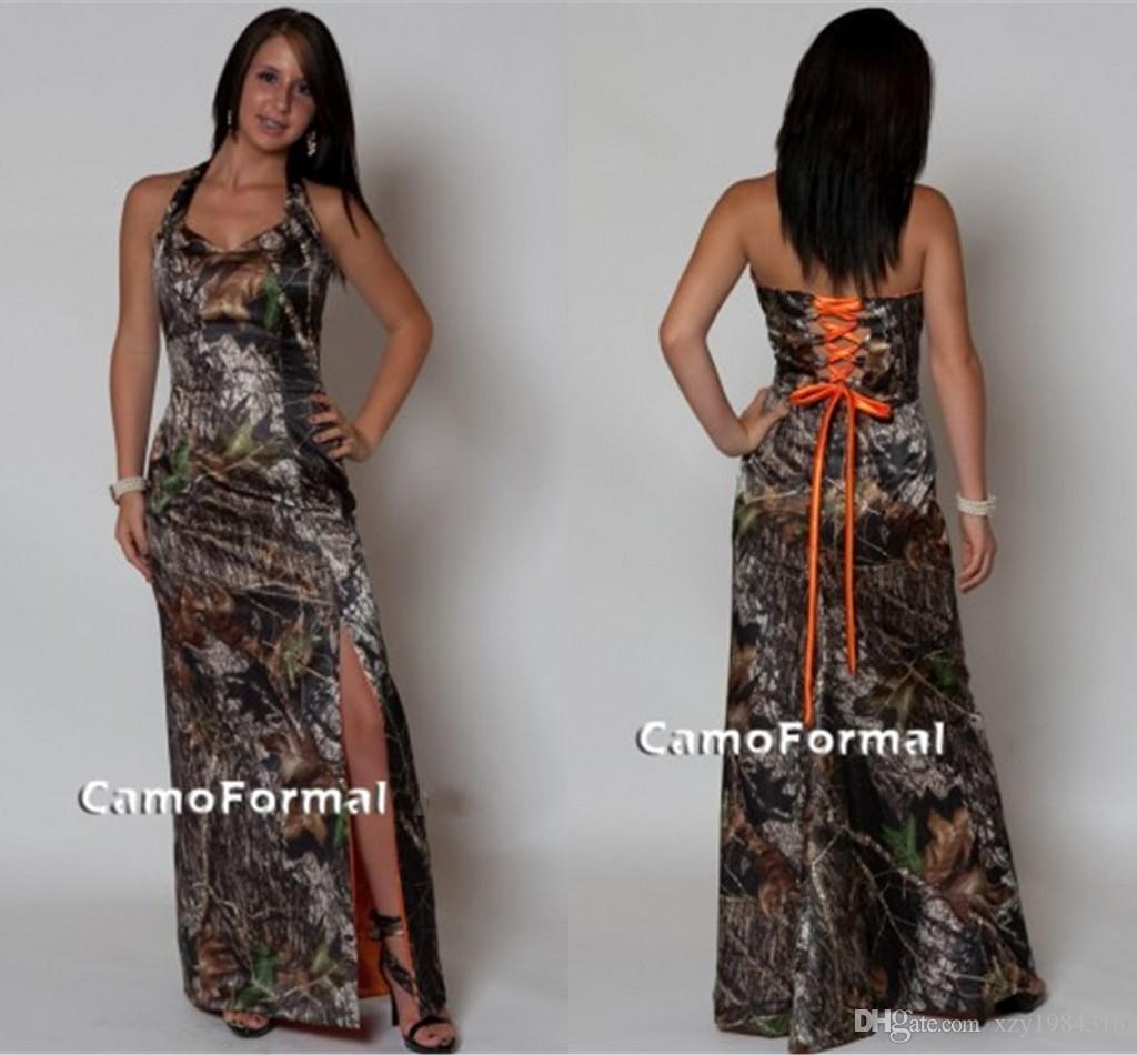 Halter lace up back camo bridesmaid dresses split side for Plus size wedding dresses size 32 and up
