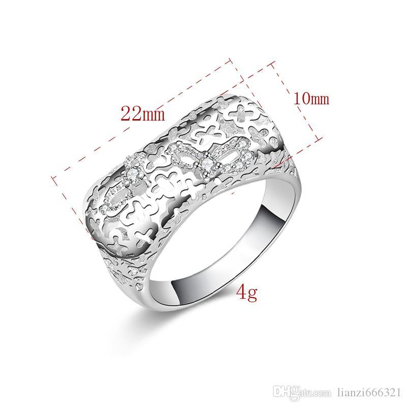 Ücretsiz Kargo Yeni 925 Ayar Gümüş moda takı Zarif lüks zirkon yüzük sıcak satmak kız hediye 1499