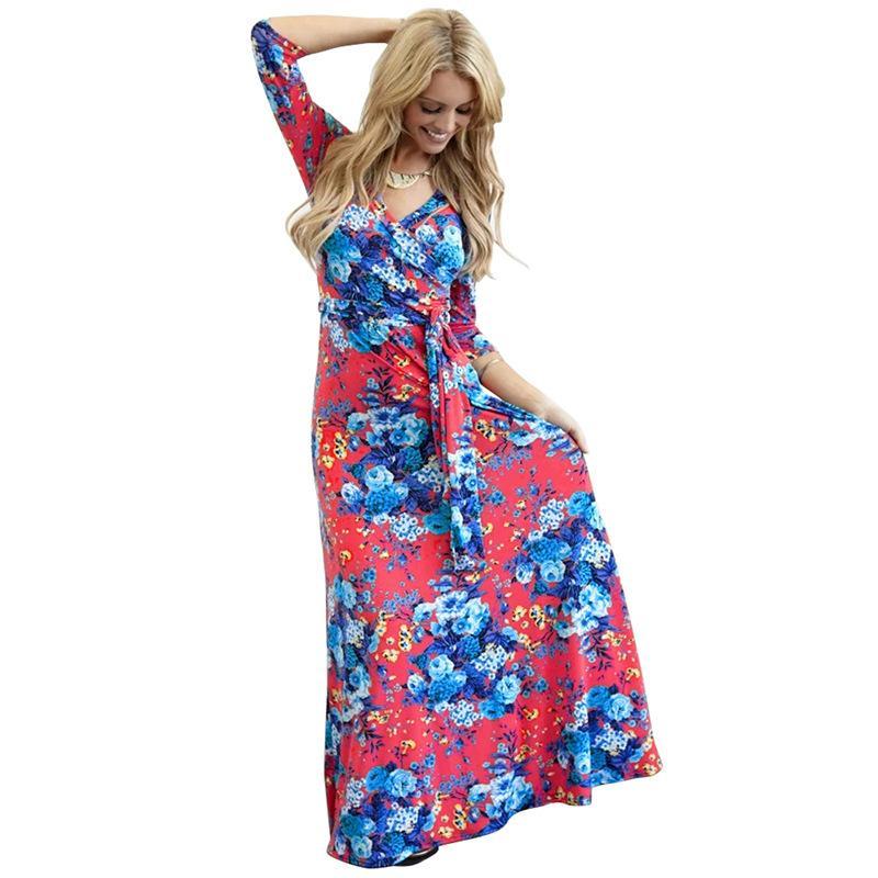 69baf13dd943 Vestido grande con estampado de columpios vintage estilo bohemio vestidos  maxi elegante slim fit estampado floral otoño vestido plisado informal