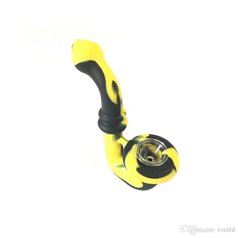 Tubo da pipa portatile in silicone con mini bong in silicone con tubi in vetro alla moda 1 pezzo campionatura