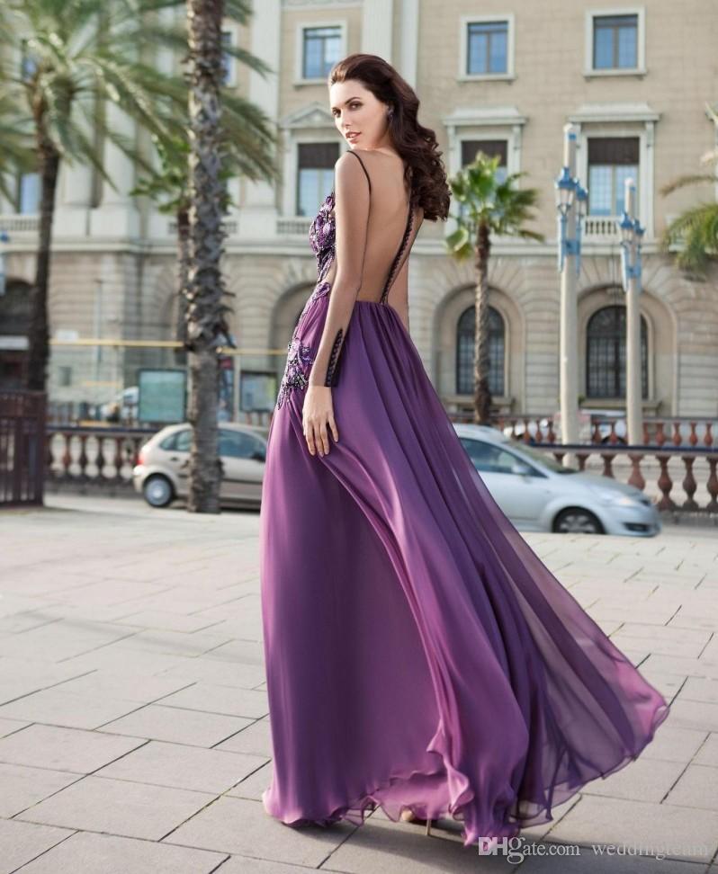 Mor Dantel Aplike Elbiseler Akşam Giymek Ile Uzun Kollu Sheer Bateau Boyun Bir Çizgi Balo Abiye Kat Uzunluk Şifon Örgün Elbise