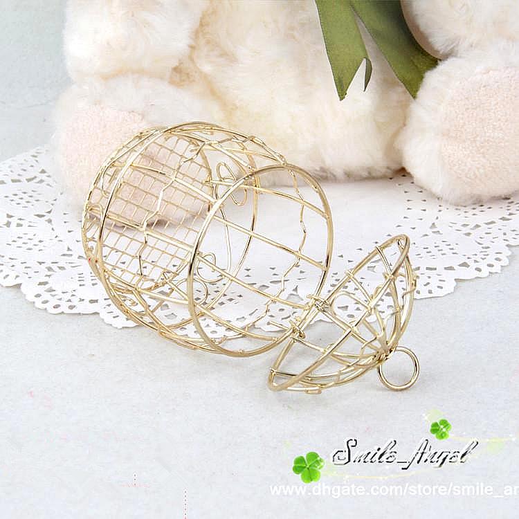 Bomboniera Matrimonio Casella europea Creativo Gold Matel Boxes Romantico Ferro Birdcaggio Birdcage Casandro Casandro Casandro scatola di latta Bomboniere all'ingrosso