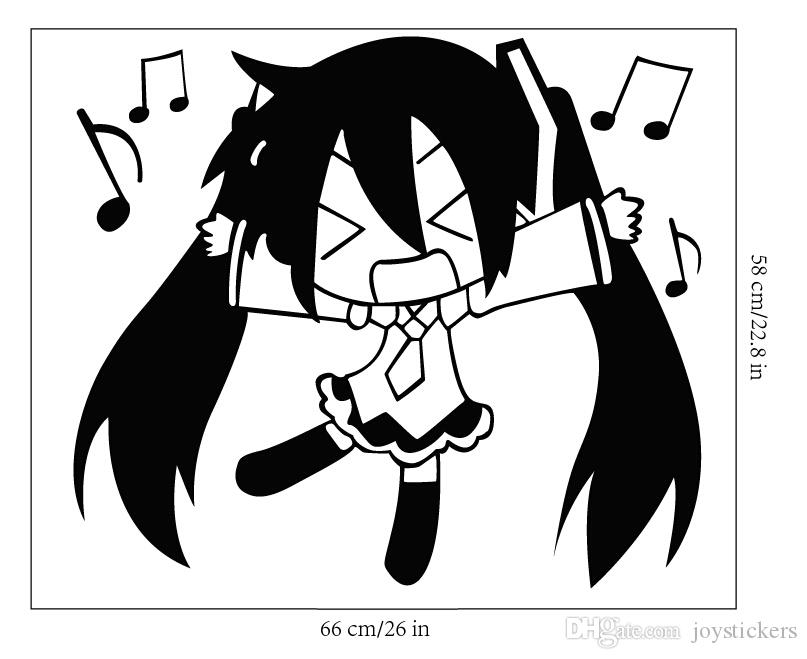 Anime Cartoon Q Style Hatsune Miku Singing Bosquejo de la música Cool Propile Etiqueta de la pared Decal Home Decor For Anime Fans