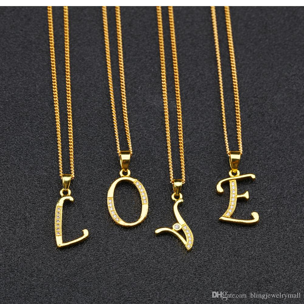 Alphabet A-Z Letter Necklace For Women Initial Name Pendant Pave Zirconia Gold Color Female Monogram Valentine's Gift KX660