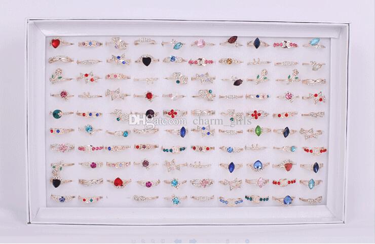 2015 vendite calde moda donna / ragazza cuore prismatico cristallo irregolare anello in oro rosa stile misto 50 pz / lotto