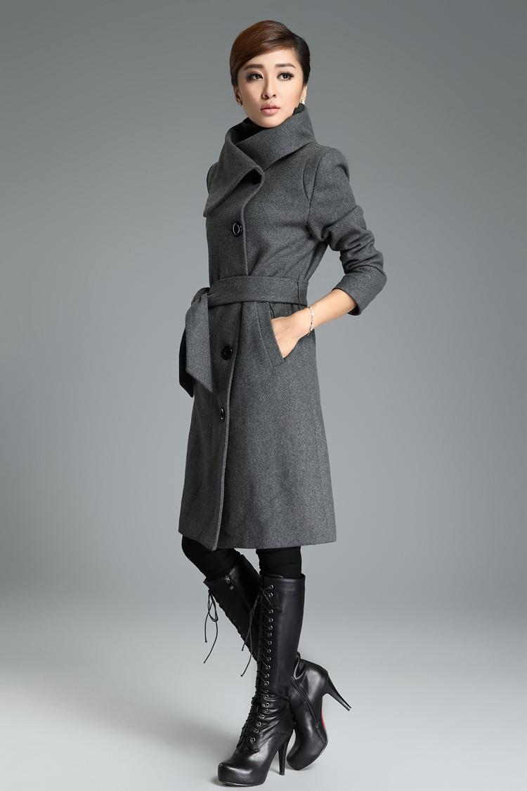 2018 2015 New Design Winter Coat Women Grey/Black Wool Coat Trench ...