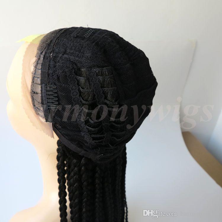 Tressage Synthétique Dentelle Avant De Perruque Droite Noir 30 pouces Résistant À La Chaleur Cheveux Big Box Tresses Femme Perruque
