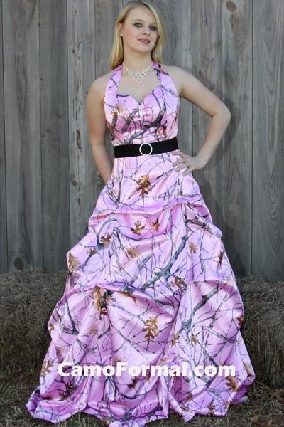 Discount New Arrival Pink Camo Wedding Dresses With Belt Picked Up ...