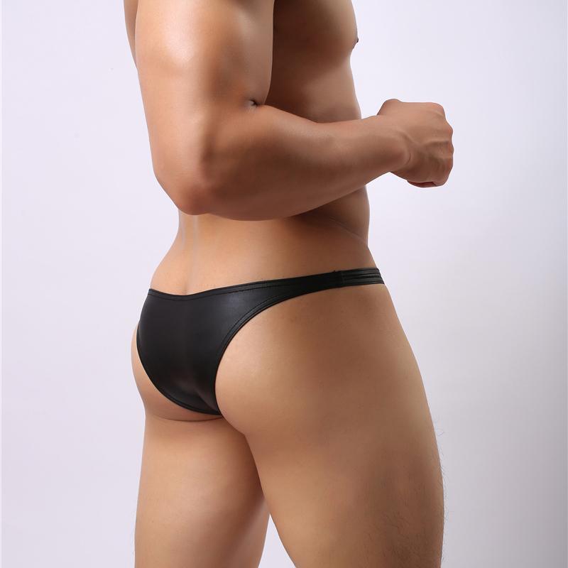 Hommes Cuir Sous-vêtements Mémoires Petit Bikini Sexy Pouch Jockstrap Enhancer Taille Basse Homme Exotique Cuecas Culotte Slim Fit Culotte Gay Underwarer