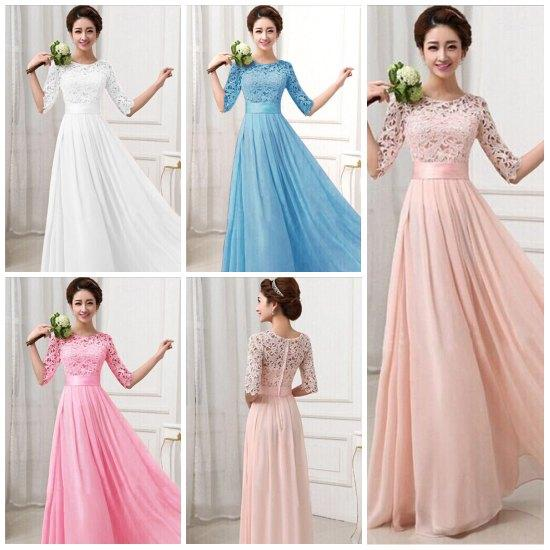 Hot Lace Chiffon Prom Gown Dresses for Women Maxi Dress Half sleeve Hollow out High Waist Sexy Wedding Evening Dress Party dress 2015 KF274
