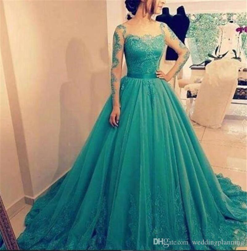 New Vestidos De Festa Formal Ball Gown Prom Dresses Sheer Long Sleeves Tulle Prom Dress Lace Appliques Floor Length Party Gowns