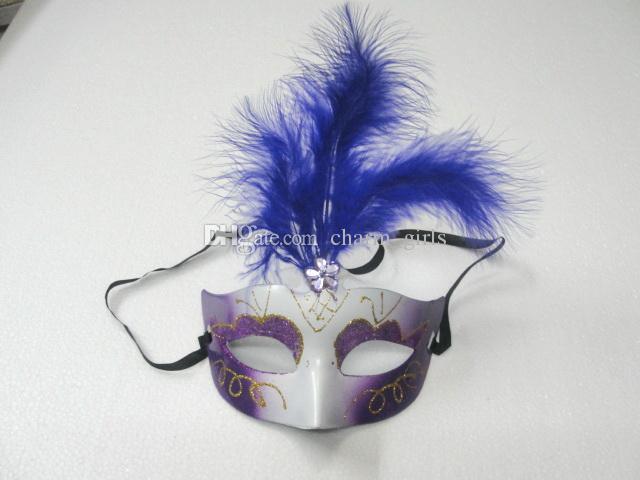 Adorável pena Rhinestone máscara veneziano mascarada partido presente decoração de natal favor do casamento novidade 10 pçs / lote