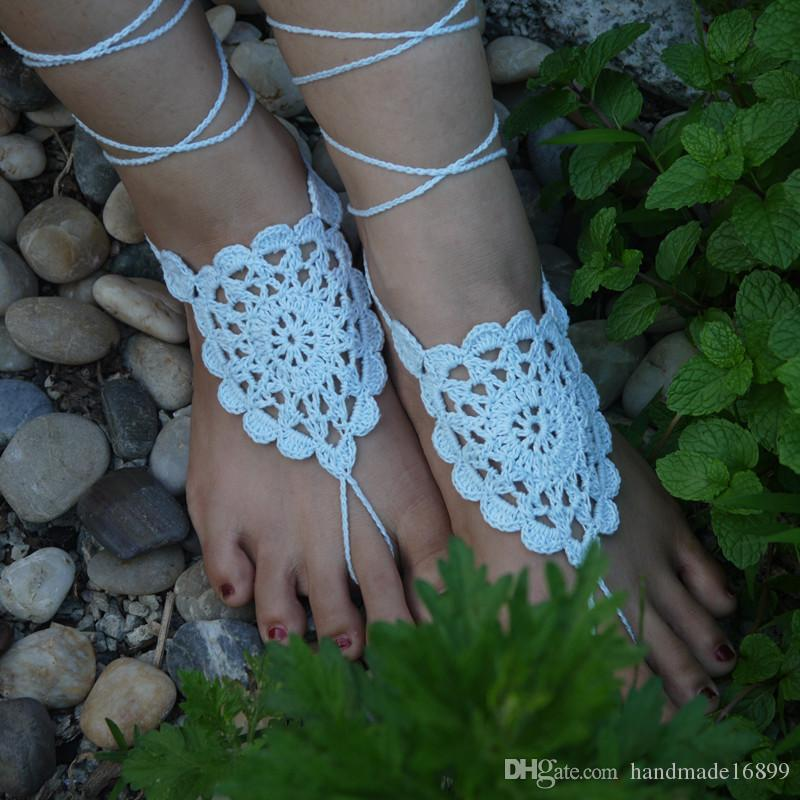 Crochet White Flower Barefoot Sandal Baby Blue Crochet Shoes Sandal