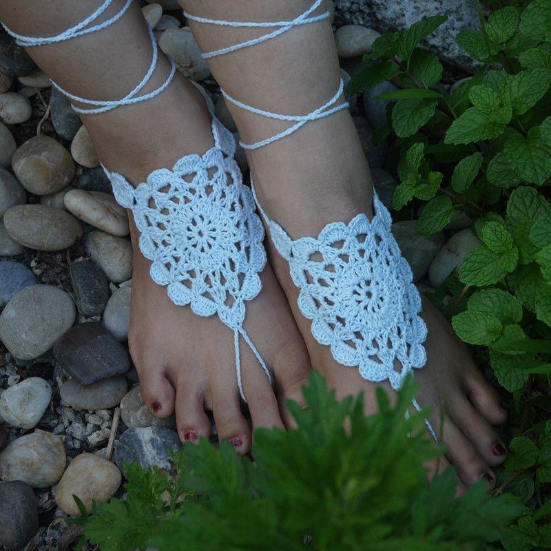 Großhandel Häkeln Weiße Blume Barfuss Sandale Baby Blau Häkeln ...