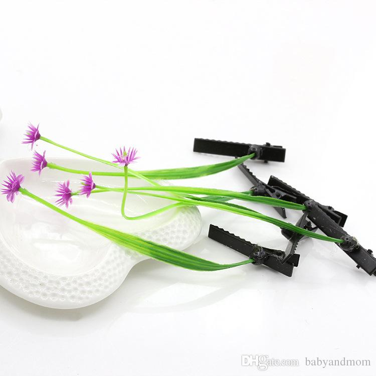 2016 New Cheap Novelty Plants grass hair clips headwear Small bud antenna hairpins Lucky grass bean sprout mushroom party hair pin