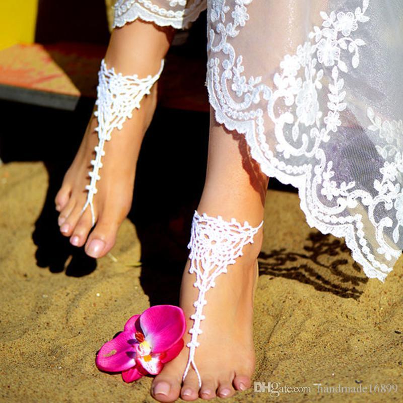 98b0d104473 Crochet White Barefoot Sandals