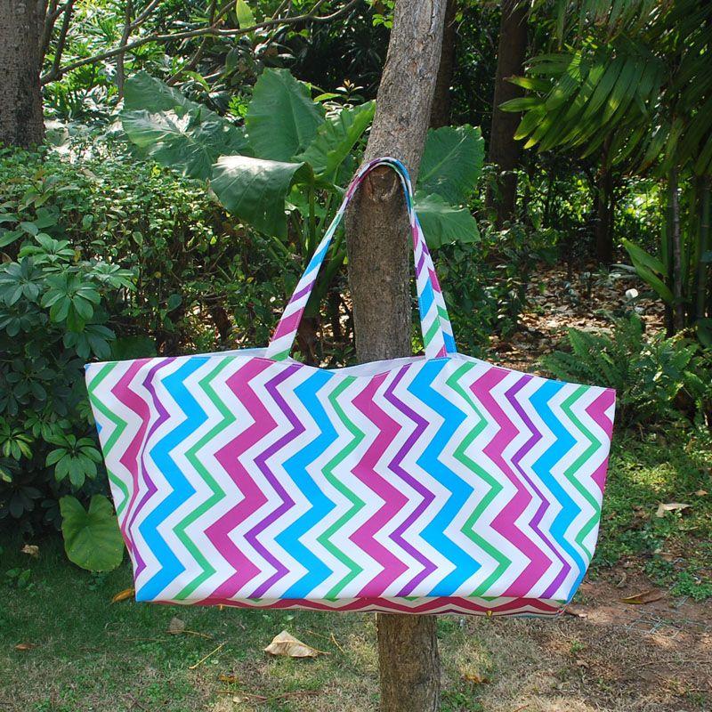 Brand fashion designer Wholesale Blanks Multi Chevron Tote Bag Zig Zag Game Day Tote Rainbow Market Handbag Stripes Utility Tote DOM103205