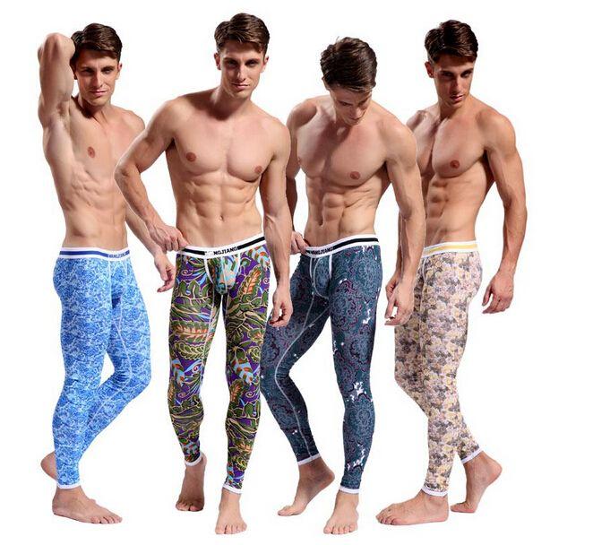Männer Thermo-Unterwäsche lange Unterhosen Hose Thermo-Kleidung warme Hosen Herren Baumwolle Pyjama Bohemia Bottoms Bodysuit Keep Zentai Leggings 4 Farbe