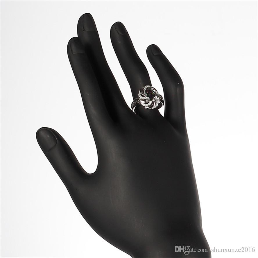 925 sterling zilveren promotie hart set ring / earring / hanger nobele genereuze S-SSZ # 6 7 8 9 Rainbow Fire Mystic Cubic Zirconia Punk