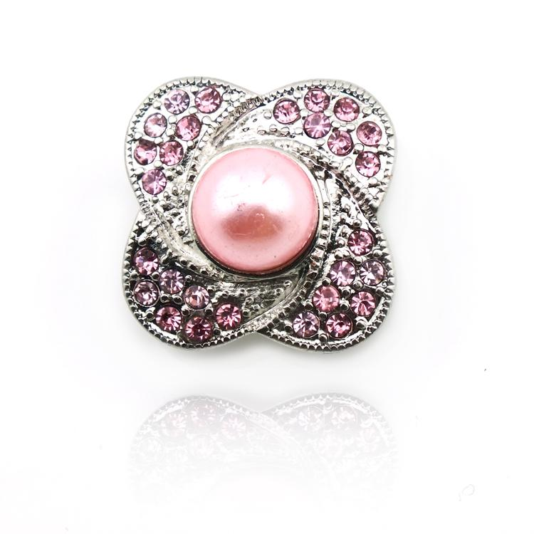 Fashion Pink Pearl 18mm Snap Buttons Metal Clasp For DIY Interchange Snap Buttons Ginger Noosa Jewelry