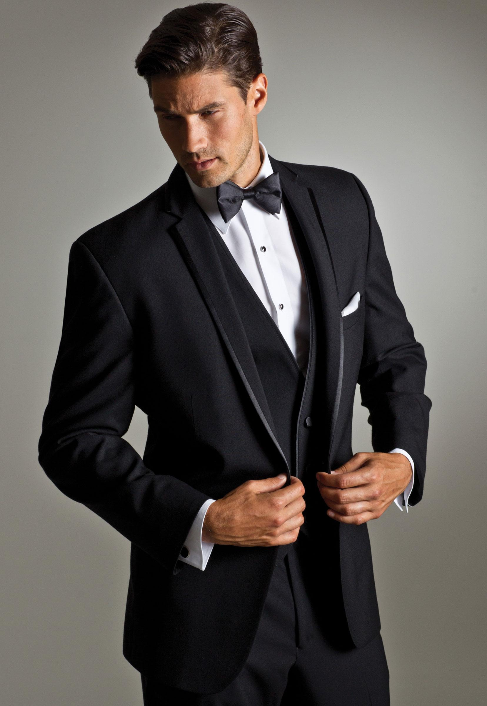 Notched Lapel Best Mens Suits Black Wedding For Men Tuxedos One Button Groomsmen Three Piece Suit Jacket Pants Vest Tie S3012 All Prom