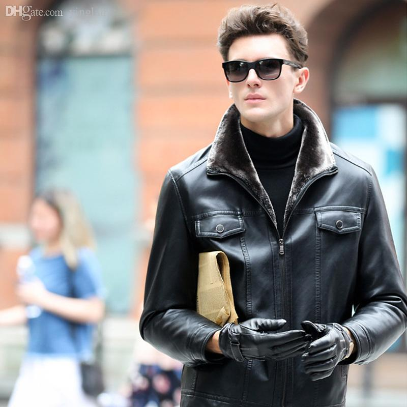 Mens leather bomber jacket with fur