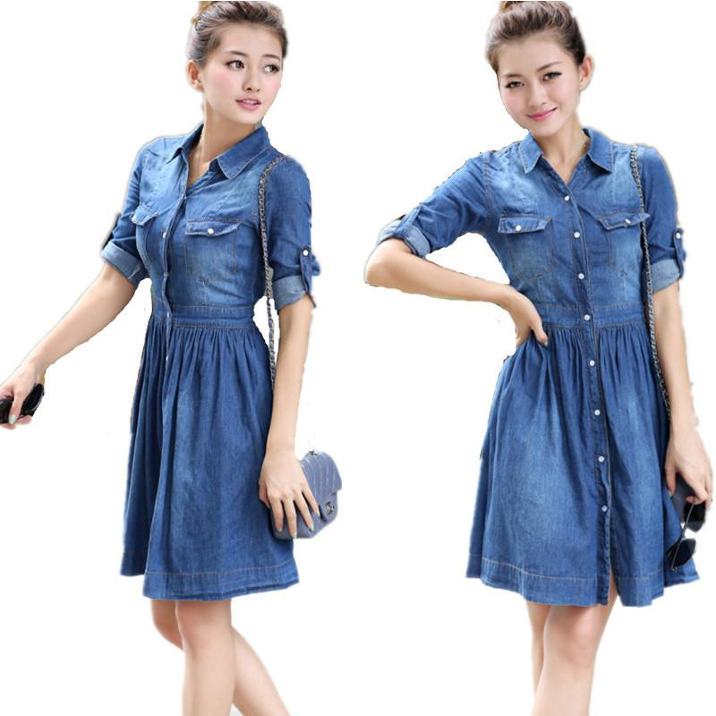 72ccbceeb5 2016 Fashion Women Summer Denim Dress Spring New Slim Fit Denim Jean Dress  Half Sleeve Pleated Shirt Dress Plus Size Women Summer Dresses White Dresses  For ...