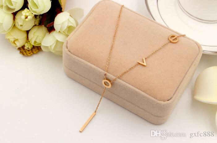 South Korea does not fade titanium steel plated rose gold love letter pendant accessories clavicle chain wild necklace to send his girlfrien
