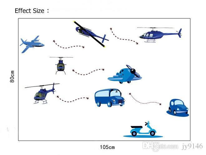 Cartoon Airplane Helicopter Bus Car Wall Sticker DIY Cute Traffic Tools Wall Decal for Kids Room Home Decor