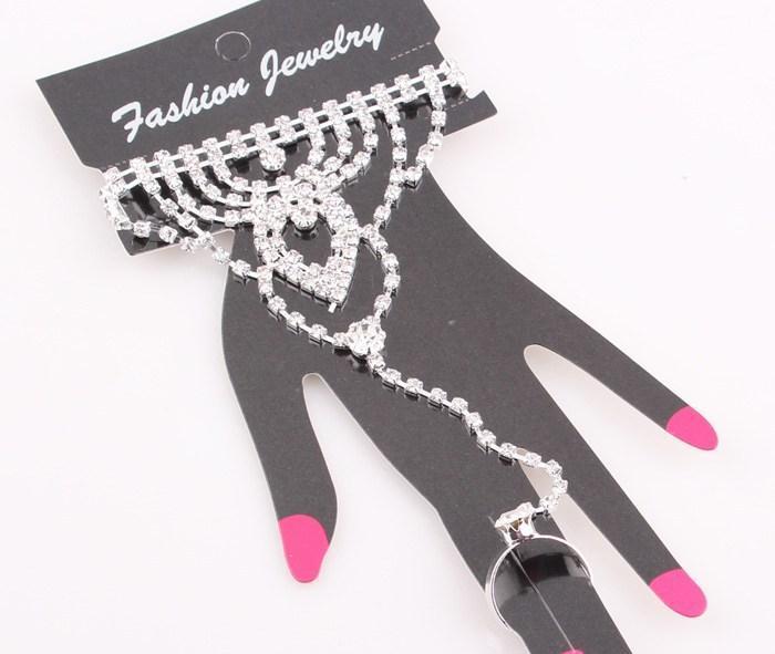 Moda Cristal Bridal Bride Bracelet Ring Cadeia de Mão Shining Rhinestone Conjunto de Jóias de Casamento Do Casamento de Noiva Acessórios de Strass