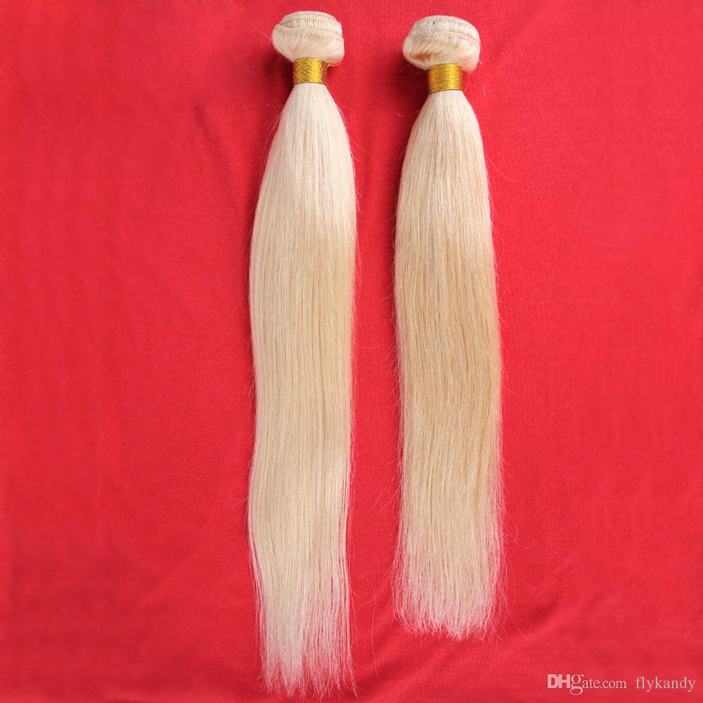 7A Brazilian Virgin Human Hair Weave Bundles Double Strong Machine Weft Bleached Blonde Silky Straight Hair Weaving Extensions No Shedding