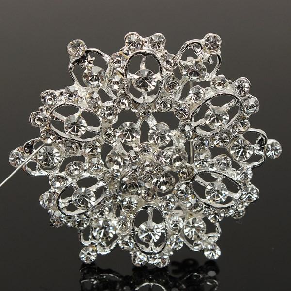 Funkelnde Strass Brosche Brosche 6,5 cm Braut Hochzeit Dekoration Frauen bestellen $ 18 keine Spur