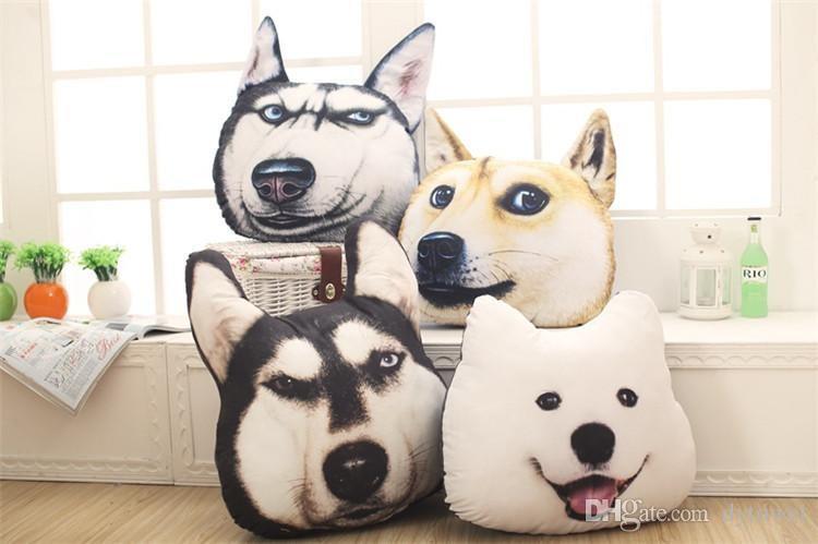 3d Animal Dog Pillow Car Sofa Cushion 40 37cm Samoyed Husky Dog