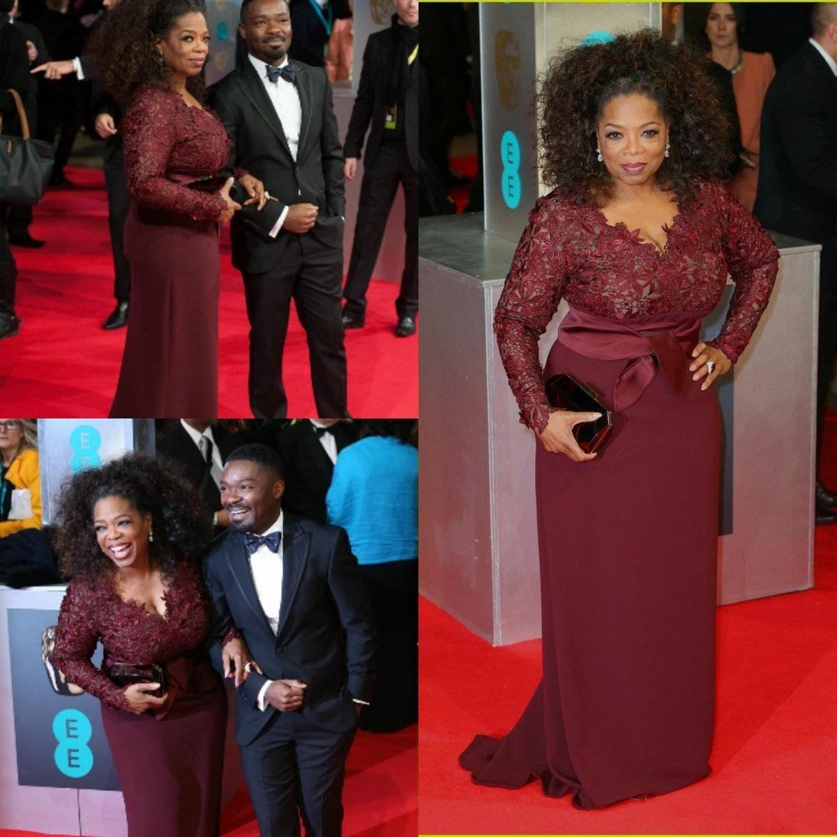 Oprah Winfrey Burgund Long Sleeves Sexy Abendkleider V-Ausschnitt Sheer Spitze Mantel Plus Size Celebrity Prom Red Carpet Kleider