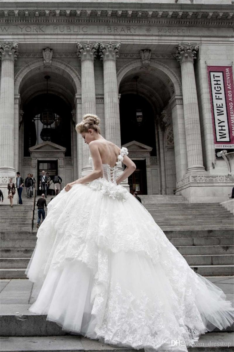 Pnina Tornai Ball Gown Wedding Dresses Lace Applique One Shoulder Lace-up Back Sweep Train Tulle Tiers Beads Bridal Gown