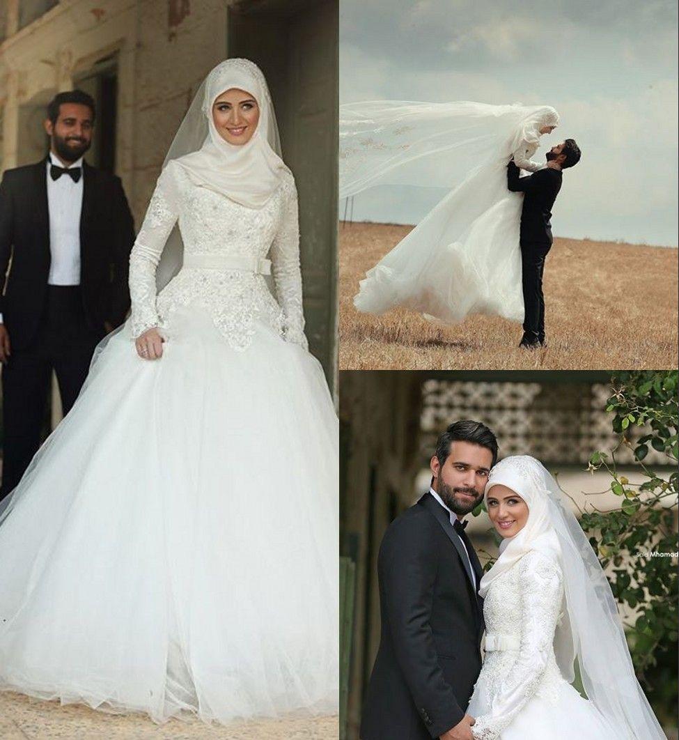 Muslim Wedding Gown Photos: Arabic Islamic Muslim A Line Wedding Dresses Lace Winter