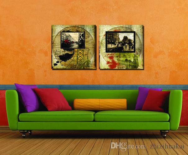 2 Peças Frete grátis Pintura Imagem Arte Pintura em Cópias Da Lona casa Velha Trem a vapor automóvel lanterna vermelha Casa Branca Mapa do Velho Mundo