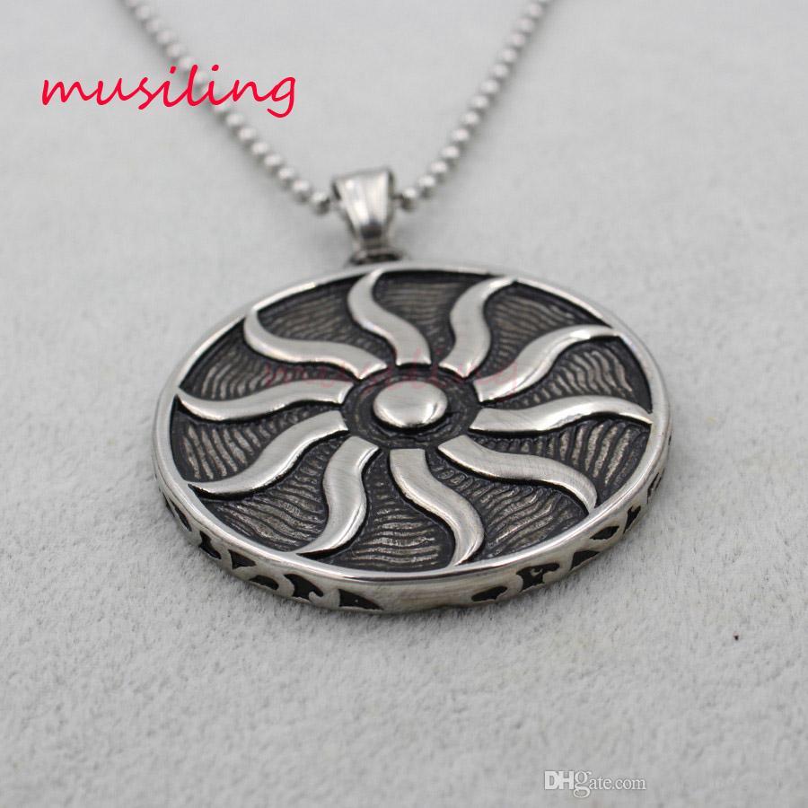 Ciondoli in acciaio inox Collana pendolo con catena Il dio del sole Totem Gioielli Charms Reiki Healing Chakra Amuleto Moda Gioielli da uomo