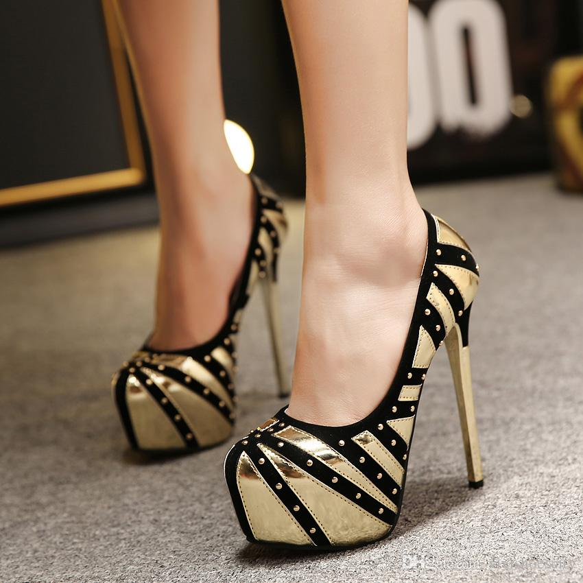 d5e61790e7fab7 2016 Trendy Rivets Super Platform Stiletto Heels Shoes Evening Party ...