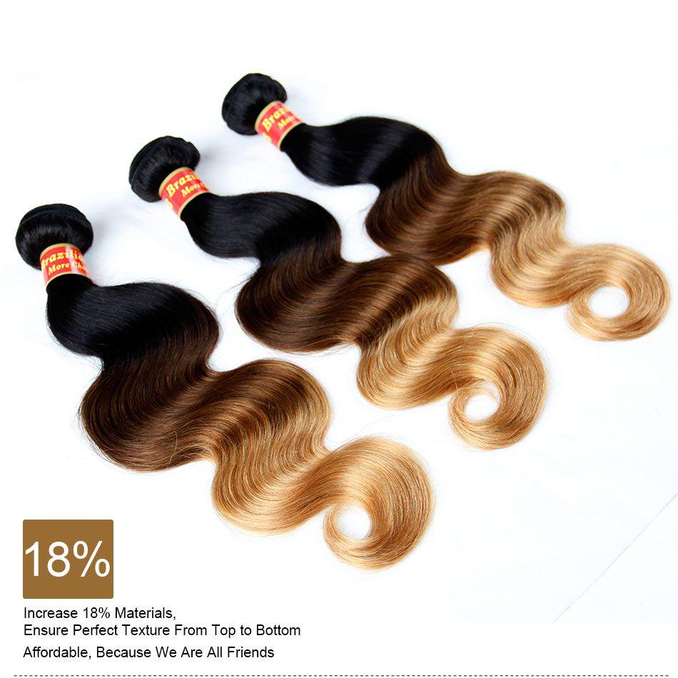 Extensiones de cabello humano Ombre Virgen Brasileña Peruana Malasia Onda del cuerpo 3 Tres tonos Marrón Rubio 1B / 4/27 # Ombre Armadura del pelo Paquetes