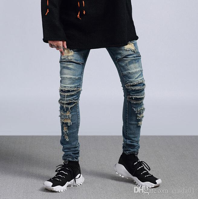 High Street Männer Ripped Slim Fit Knie Cuts Distressed lange Hosen Vintage-Light Blue Hose