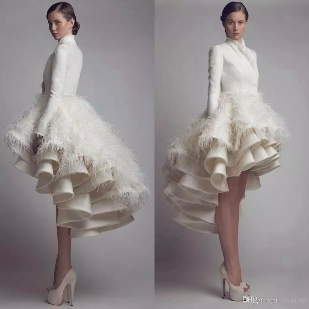 Diseñador Krikor Jabotian una línea de vestidos de novia de alto cuello de la colmena de la pluma Vestidos de novia bajo satinado de manga larga más el vestido de boda de tamaño