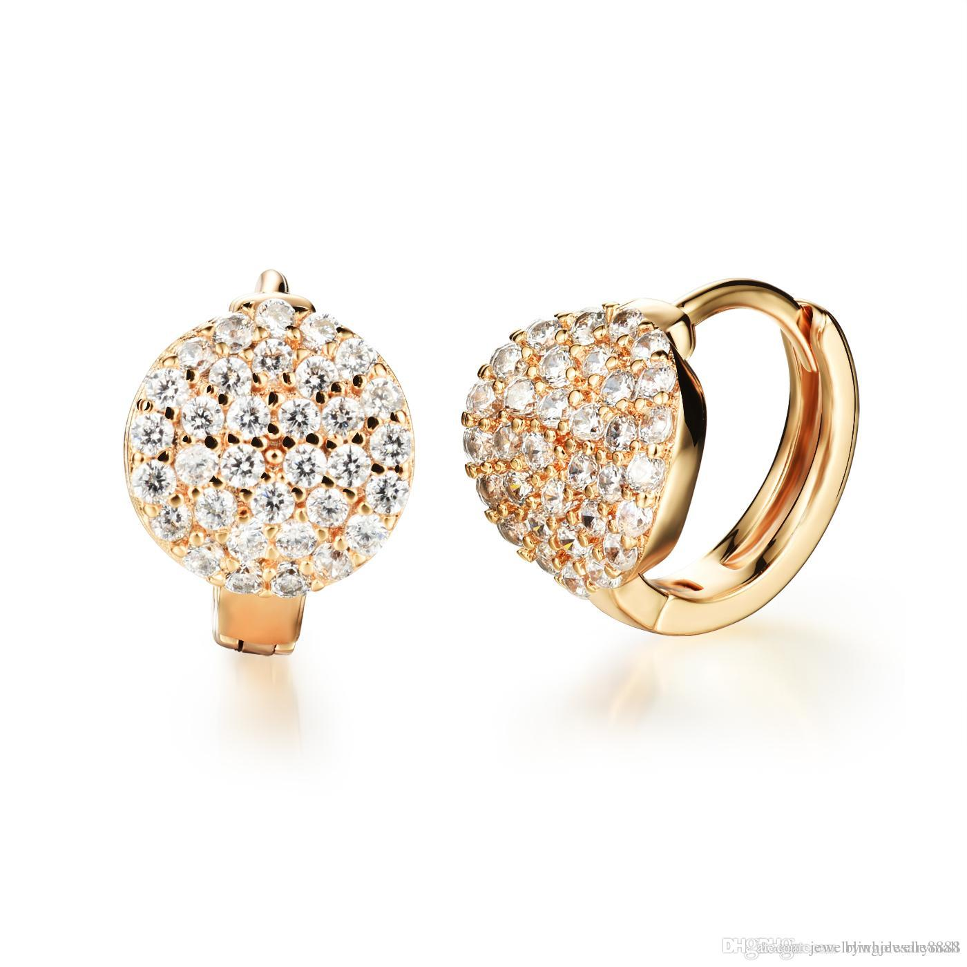TPHui Women Earrings Small Gold Earrings Hoop Earrings Women'S Jewerly Cubic Zirconia Crystal Hoop Stud Earrings 18K Yellow Gold 6wwLhdW