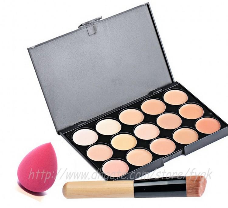 Hot Sale Contour Face Cream Makeup Foundation Concealer Palette Powder Brush + Puff Set& Kit