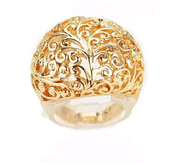 Fashion Men/Women 18k Gold Plated High Quality Hollow out Design Flower Ring Jewelry Charm Jewelry Hot Sale