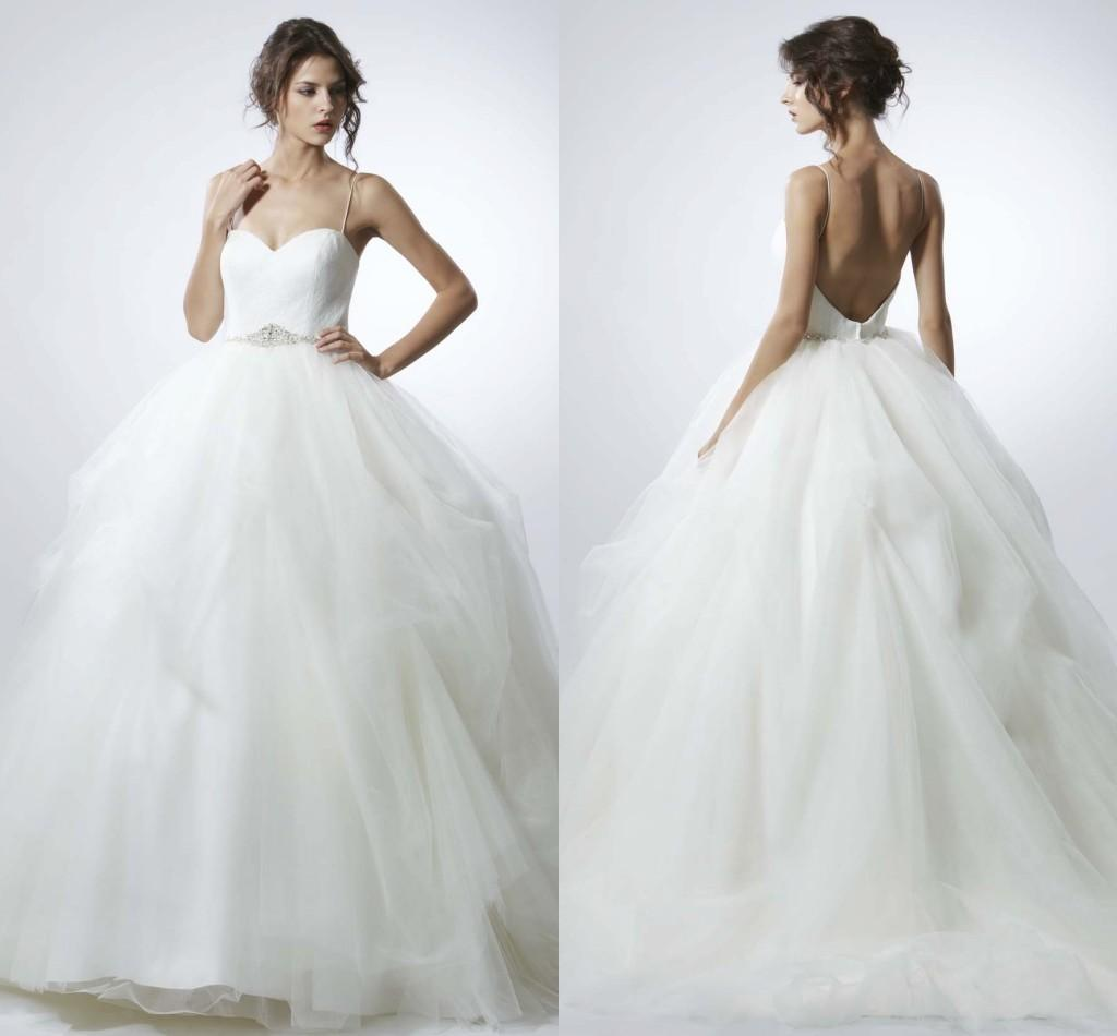 Wedding Ball Gowns With Straps: 2015 Backless Wedding Ball Gowns Dresses Spaghetti Strap