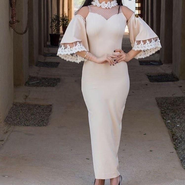 Champagne Evening Dresses Elastic Satin 3/4 Sleeveless Ankle-Length 2018 Illusion Prom Dresses Long Dresses Evening Wear