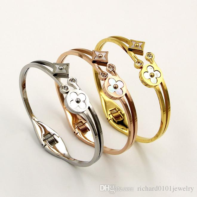 Yeni Varış Titanyum Çelik iki çiçekler çift Fortress Yonca Bilezik Renkler kadınlar için kabuk Bilezik Gül Altın Kolu hediye moda takı