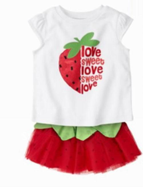 3d2023fcc0b09 Wholesale-free shipping 4sets /lot 100% cotton 2pcs suit lovely strawberry  children clothing set baby wear girls t-shirt+skirt